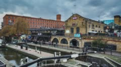 London, UK - FEBRUARY  Camden town Market Time Lapse with Boat Stock Footage