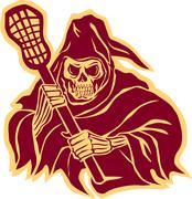 Grim Reaper Lacrosse Defense Pole Retro Stock Illustration