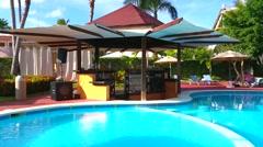 PUNTA CANA, DOMENICAN REPUBLIC JANUARY 29 Pool bar at a hotel in Punta cana Stock Footage