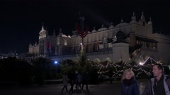 The Cloth Hall and the Christmas market in Krakow, at night Stock Footage