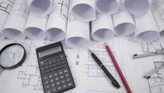 Top view of architectural drawings Stock Footage