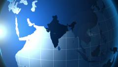 India. Zooming into India on the globe. Stock Footage