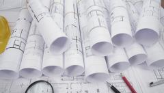 Architectural blueprints concept Stock Footage