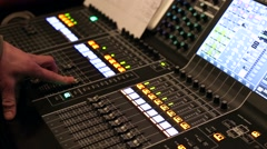 Sound designer working on the sound control. Stock Footage