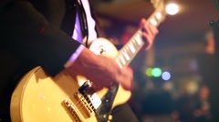 Musician play guitar on a stage during live concert. Stock Footage