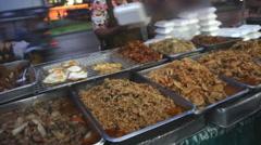 Street food stall in Bangkok, Thailand Stock Footage