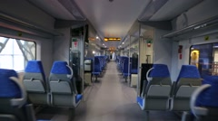 Walk through interior of high-speed train in first person pov. Stock Footage