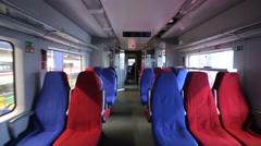 Walk through interior of high-speed train. Stock Footage