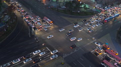 Busy road junction in Seoul, South Korea Stock Footage