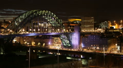 Night Timelapse of the Tyne Bridge in Newcastle, England Stock Footage