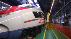 """View of """"Sapsan"""" - russian gauge high speed electric express train. Stock Footage"""