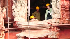 workers in Sanctuary of truth Temple windows time lapse closeup - stock footage
