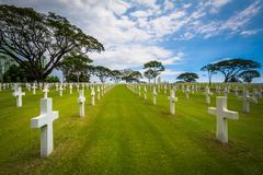 Graves at the Manila American Cemetery & Memorial, in Taguig, Metro Manila, T Kuvituskuvat