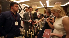 People at presentation and wine degustation Stock Footage
