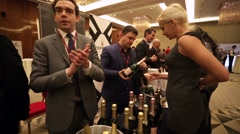 People at presentation and wine degustation - stock footage