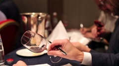 Man taste and compare variety of wines Stock Footage