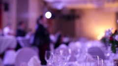 Elegant dinner table setting at reception. Stock Footage