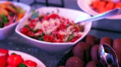 Pan view of catering buffet with food. Stock Footage