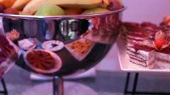 Stock Video Footage of catering buffet with cakes.