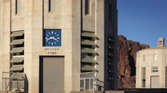 Clock Showing Nevada Time at The Hoover Dam - stock footage