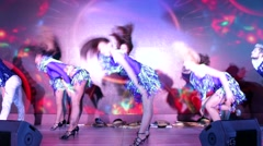 Group of women performs modern dance on a stage Stock Footage