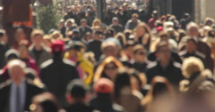 Crowd of people walking on New York City street blur faces - stock footage