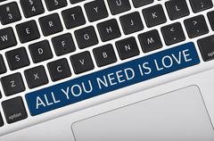 Keyboard  button written word all you need is love - stock photo