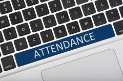 Keyboard space bar button written word attendance Stock Photos