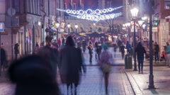 Amazing timelapse of a crowded street at the Christmas market in Krakow Stock Footage