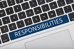 Keyboard space bar button written word responsibilities - stock photo
