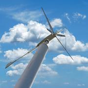 Wind turbine for renewable energy on beautiful sky background Stock Photos