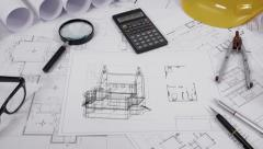 Architectural drawing animation Stock Footage