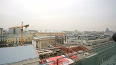Moscow city center panoramic view from the top floor of luxury hotel. Stock Footage