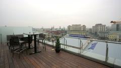 Kremlin view from the top floor of luxury hotel, presidential suite. Stock Footage