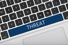 Keyboard  button written word threat - stock photo