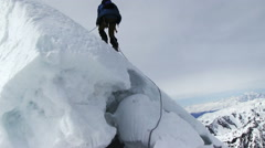 Mountaineer In The High Mountains Stock Footage