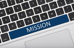 Keyboard space bar button written word mission - stock photo