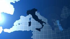 Italy. Zooming into Italy on the globe. Stock Footage