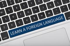Keyboard space bar button written word learn a foreign language - stock photo