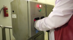 Hands disinfection before entering into meat processing plant. Stock Footage