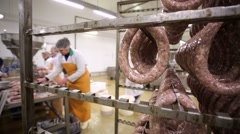 Meat processing plant, sausage production. - stock footage