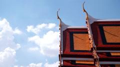 Buddhist temple roof Stock Footage