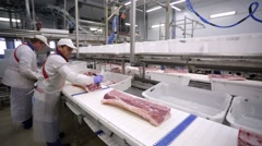 Food processing plant, pig meat. - stock footage