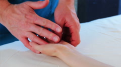 Hand massage for young beauty woman in the beauty saloon Stock Footage