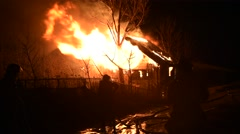 Heavy Flames from Barn At Night - stock footage