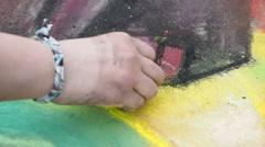 Doing Sidewalk Chalk Art Stock Footage