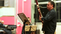 Musician plays the bassoon. Stock Footage