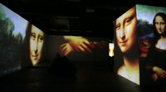 "View of multimedia exhibition ""Renaissance - Live canvases"". Stock Footage"