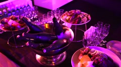 Fruits and champagne on a banquet table, catering. - stock footage