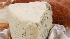 deli fresh blue stilton cheese and rye ciabatta - stock footage